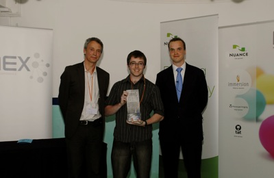From left to right, Philippe Jeanrenaud, Director of Marketing at Nuance, Aaron Rustill, winner and 2009 MEX Mobile User Experience Innovator of the Year, and Marek Pawlowski, founder of MEX.